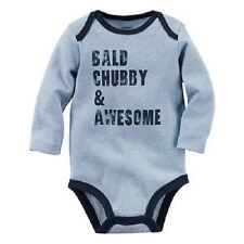 "Carter's Boys Size 3 month Blue ""Bald Chubby & Awesome"" Printed Bodysuit New"