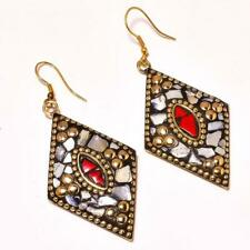 MOTHER OF PEARL WITH RED CORAL GEMSTONE GOLD PLATED TIBETAN EARRING 2.3""