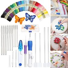 AU DIY Embroidery Pen Magic Knitting Sewing Tool Kit Punch Needle + 50 Threads