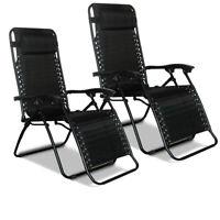Recliner Beach Chair Bed Sun Lounger Garden Patio Outdoor Folding Textoline