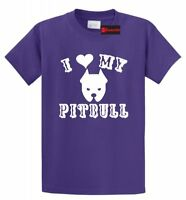 I Love My Pitbull T Shirt Bully Dog Animal Rescue Trainer Gift Tee S-5XL