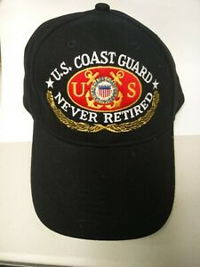 US Coast Guard Red 1790 Seal Never Retired Unisex Curved Bill Black Cap New gift