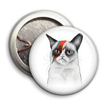 Grumpy Cat Insane  - Button Badge - 25mm 1 inch - David Bowie Parody / Humour