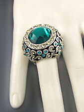 Silver Toned Teal Rhinestone Round Stretch Ring