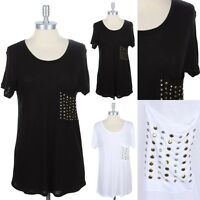 Comfy Fit T Shirt with Studded Chest Pocket Short Sleeve Easy Wear Rayon S M L