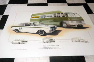 1964 FORD LOTUS CORTINA MK1 JIM CLARK & TRANSPORTER BUS NEW PRINT