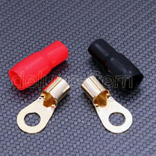 2 Car Audio Power Gound Wire Battery Ring Terminals Gold 4 Ga Gauge Connector