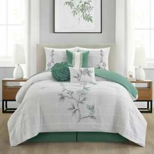 Elegant Pintucking Green Embroidery Floral 7 Pcs Cal King Queen Comforter Set