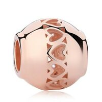 Rose Gold Round Bead Charm 100% 925 Sterling Silver Pandora