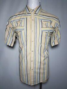 Canyon Guide XL Yellow Blue Men's Rockability Pearl-Snap Western Button-Up Shirt
