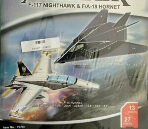 2x in one box 3d Puzzle 13 Pieces F-117 Nighthawk & 27 Pieces F/A-18 Hornet