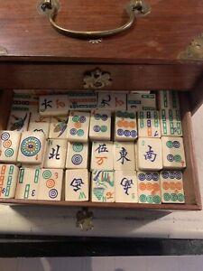 Mahjong 1920s Antique Bone Bamboo Mah Jongg Game 140 + Tiles