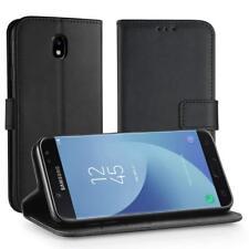 Samsung Galaxy J7 2017 Leder Hülle, Simpeak Flip Wallet Case Cover Schwarz
