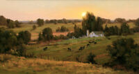 Farm cattle in the sunset Oil Painting Giclee Art Printed on canvas L2482