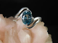 4.38 Ct. Oval Blue Zircon Sterling Silver Ring