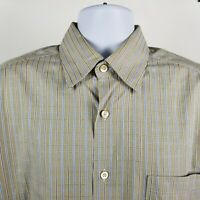 Ermenegildo Zegna Mens Blue Brown Check L/S Dress Button Shirt Sz Large L