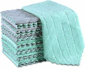 15 Dish Cloths Kitchen Towels Reusable Rags Microfiber Cleaning Dishcloths