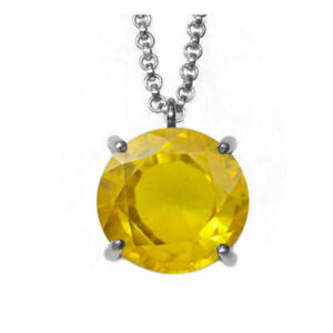 Yellow Sapphire Pendant With Chain Faceted Gemstone 925 Sterling-silver