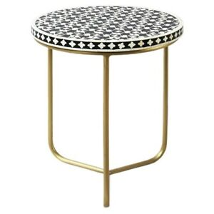 Bone Inlay Round lamp Table on metal stand (MADE TO ORDER)