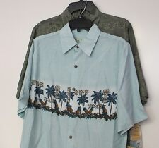 NWT Lot of 2 Batek Bay Men's Hawaiian Shirt Small S Green Aloha Camp Palm Trees