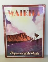 WAKIKI Tin Tole Playground of The  Pacific Advertising Poster Wall C1