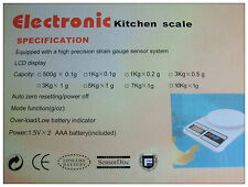 Electronic Kitchen Weight Scale 5kg Digital LCD Screen 电子秤 FREE AA batteryX2 NEW