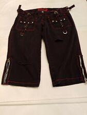 Vintage Tripp Black Bondage Goth Punk Shorts Capri Size 9 Ladies