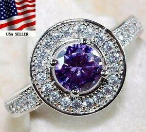 Buy Now 2CT Amethyst & Topaz 925 Solid Sterling Silver Ring Jewelry Sz 8, UC18