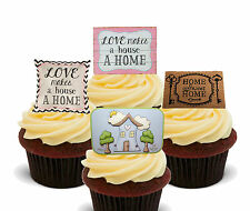 New House Edible Cupcake Toppers, Stand-up Fairy Cake Decorations, New Home