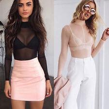 Womens Black Mesh Sheer See-through Long Sleeve Crop Top T Shirt Blouse Clubwear