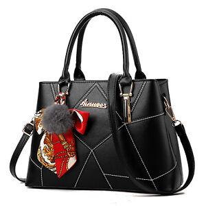 Schwarz Damentasche Handtasche Schultertasche Leder Damen Tasche Tragetasche