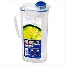 3 x 2L Clip & Lock Plastic Juice Drinks Jugs Storage Kitchen Party Jug New