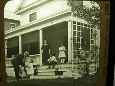 "Keystone View Magic Lantern Slide - 3-1/4"" by 4"" - Father Going To Work"
