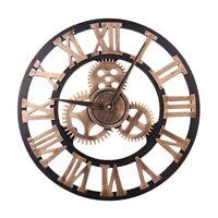 Ee _ 3D Metal Redondo Gear Pared Reloj Analógico Romano Número Hogar Oficina