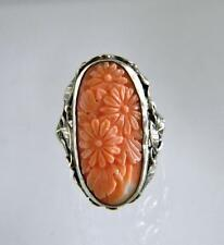 Vintage Carved Salmon Coral Sterling Silver Ornate Ring
