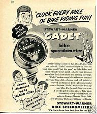 1954 Stewart Warner Cadet Bike Speedometer Print Ad
