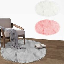60cm Xmas Tree Skirt Base Round Fluffy Faux Fur Floor Mat Cover Party Rugs Mat