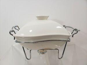 Godinger White Ceramic Covered Casserole Baker Chafing Dish w/ Chrome Stand