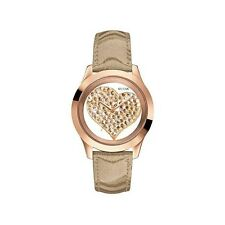 New Authentic GUESS Women Rose Gold Crystal Heart Watch U0113L3 new with tag