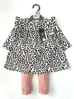 MOTHERCARE Baby Girls Outfit MY K Leggings Top Set Pink Animal Leopard Print NEW