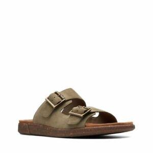 Men's Shoes Clarks VINE CEDAR Slide Suede Sandals 39800 OLIVE *New*