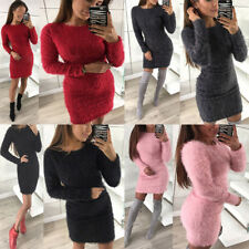 Women Round Collar Plush Dress Fluffy Long Sleeve Jumper Bodycon Sweater Tops