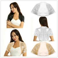 Women Sequins Short Jacket Bolero Shrug Open Front Cardigan Crop Top Party Prom