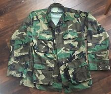 US Army Woodland Camouflage Shirt Jacket BDU Medium Long Vintage Winter Adjust