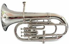 ROCKING SALE! New Silver Bb/F FLAT 4 Valve Euphonium Free Hard Case+Mouthpiece
