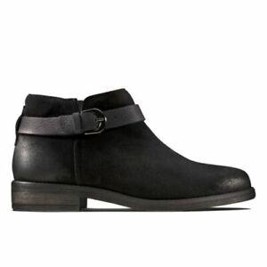 BNIB Clarks Ladies Demi Tone Black Suede Ankle Boots