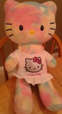 Hello Kitty Tye-Die Rainbow Colored  Build A Bear Limited Edition Babw No Bow