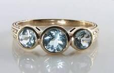 Divine 9K oro 9CT Topacio Azul Cielo Art Deco INS 3 Piedra Anillo Trilogía sin cambiar el tamaño