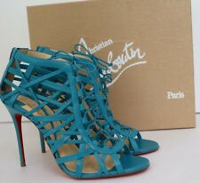 Christian Louboutin Laurence Anyway Caged Leather Sandals Riviera Blue 40 $1295