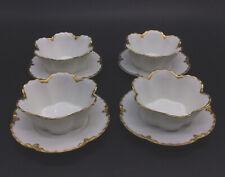 4 Haviland Limoges White Gold Trim Ramekins Underplates Lot Set Vintage
